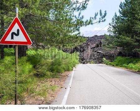 Hardened Lava Flow Closed Road On Slope Of Etna