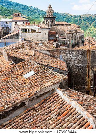 Roofs And Tower In Castiglione Di Sicilia Town