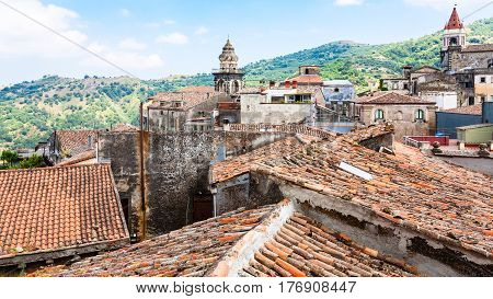 Roofs And Churches In Castiglione Di Sicilia Town