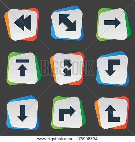 Vector Illustration Set Of Simple Indicator Icons. Elements Reduction, Right Leading Arrow, Rearward And Other Synonyms Arrow, Upload And Left.