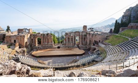 View Of Ancient Teatro Greco In Taormina