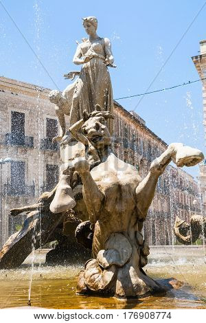 Sculpture Of Fountain Of Diana On Piazza Archimede