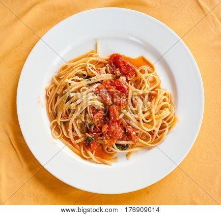Top View Of Spaghetti With Tomato Sauce In Sicily