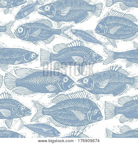 Freshwater fish endless pattern vector nature and marine theme seamless tiling. Seafood zoology idea background.