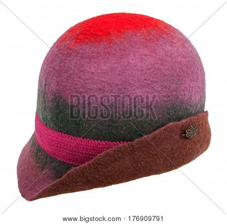 Handmade Felt Cloche Hat Isolated On White