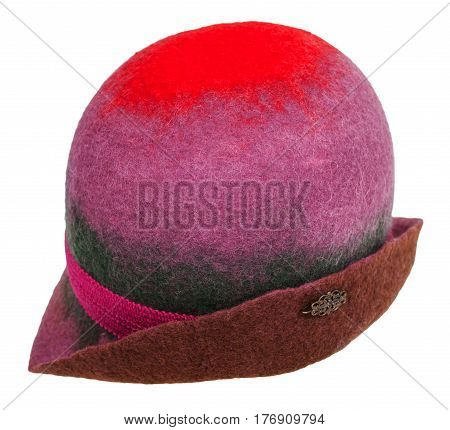 Handmade Felt Lady's Cloche Hat Isolated