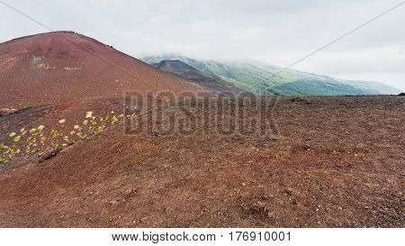 Cloud Over Volcanic Hills On Etna Mount