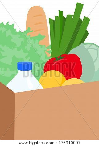 Vector illustration of package with products vegetables and fruits