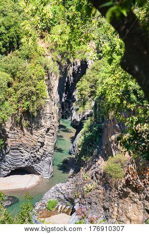 Above View Of Alcantara River In Sicily