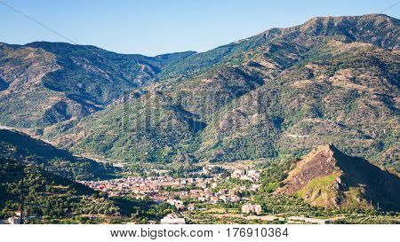 Above View Of Francavilla Di Sicilia Town