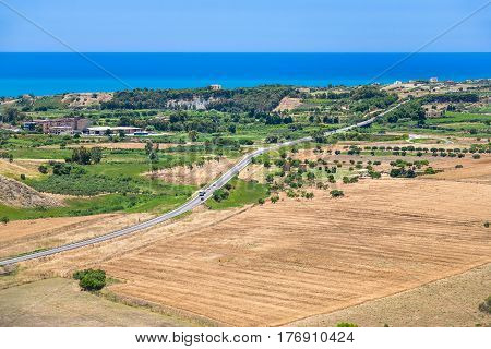 Agrarian Fields And Village Near Agrigento Town