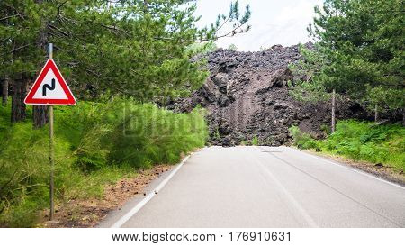 Hardened Lava Flow Broken Road On Slope Of Etna