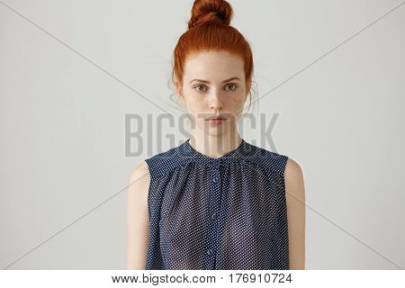 Indoor Portrait Of Gorgeous Beautiful Young Female Model With Perfect Healthy Freckled Skin And Ging