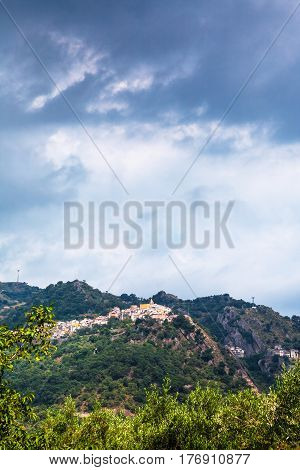 Rain Clouds Over Castiglione Di Sicilia Town