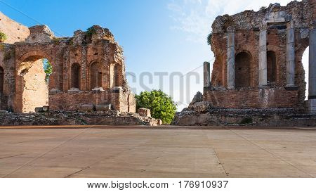 Arena Of Ancient Teatro Greco In Taormina