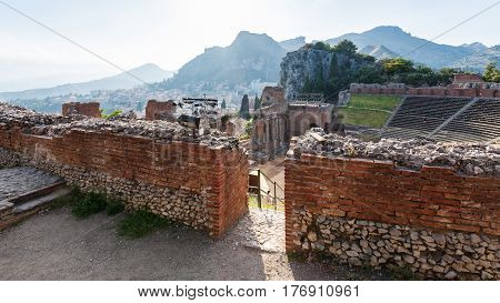 Walls Of Ancient Teatro Greco In Taormina