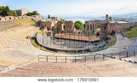 Above View Of Ancient Teatro Greco In Taormina
