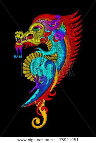 embroidery stitches style, embroidered design elements of dragon on black background for textile, fabric design, old fashion ornament, decorative vector illustration