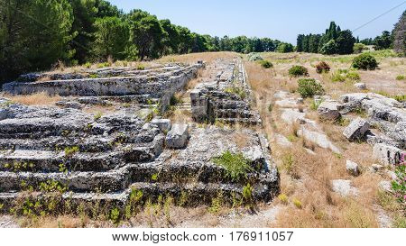 Ruins Of Ancient Altar Of Hieron In Syracuse