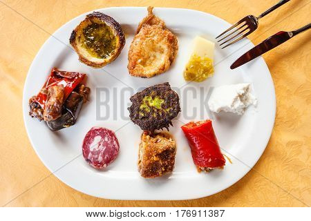 Top View Plate With Various Sicilian Snacks