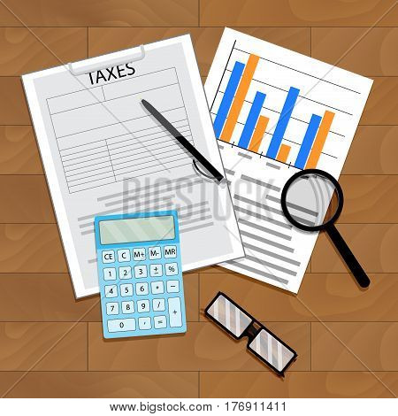 Tax statistics vector. Economy statistic banking tax. Calculator and chart data on table illustration