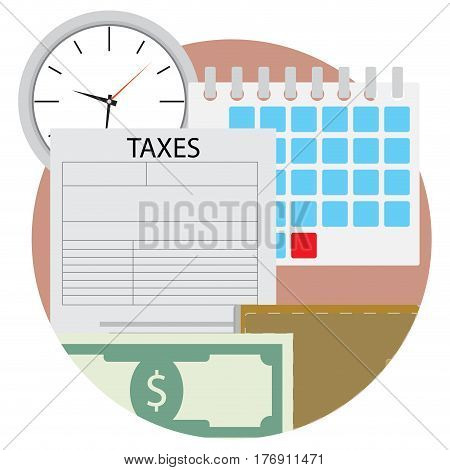 Time pay tax icon. Wallet and cash tax document income federal taxation vector illustration