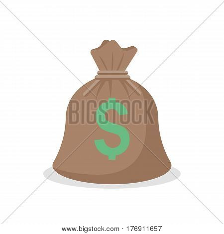 Bag of money isolated on a white background. Vector illustration flat style. Icon for web design. American dollar sign. A symbol  rich, affluence and success. Template for other objects.