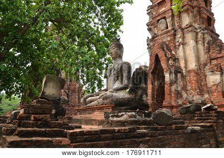 Scenic View Of The Towering Prang Of Wat Phra Ram