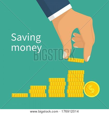 Saving money. Coin in hand. Finance growth. Vector illustration flat design style. Concept investment. Stacks of golden coins. Isolated on white background. Money on pile. Template salary.