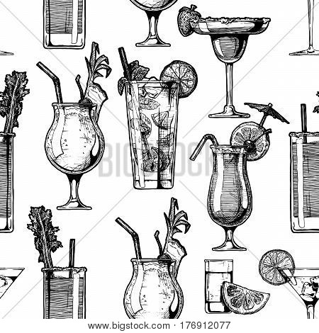 Seamless pattern with different cocktails in glasses goblets. vector illustration in old fashioned hand drawn style on white background.