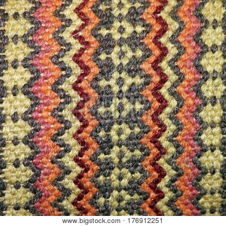 Woven Tribal Pattern Tapestry in Orange, Tan and Black