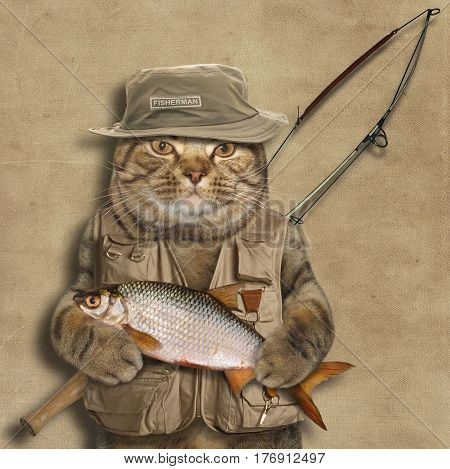 The brave cat caught a big fish. He looks like a real fisherman.