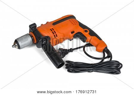 Electric drill isolated on white with clipping path.