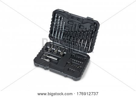 Set of drill bits isolated on white background with clipping path