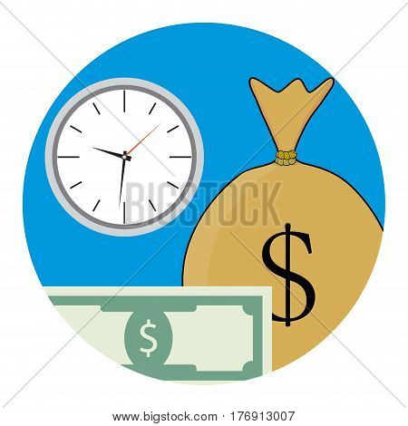 Money and time icon. Payroll profit vector illustration