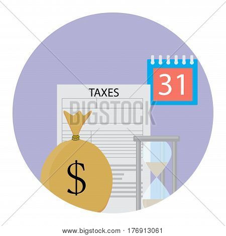 Tax icon flat. Sack money and annual profit tax form and time vector illustration