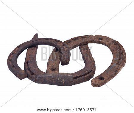 Old rusty vintage good luck horseshoe isolated on white background