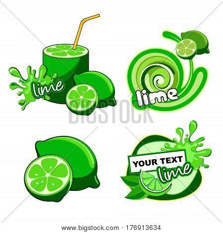 Tropical Juicy lime citrus fresh vector label
