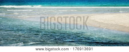 Landscape with Atlantic ocean and beach with white sand