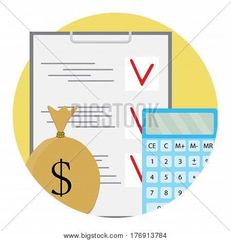 Finance plan and calculating. Budget and balance vector illustration
