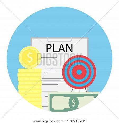 Financial plan of success. Business management cash profit currency banknote vector illustration
