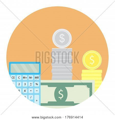Calculate money icon. Counting account money pay financial app icon. Vector illustration