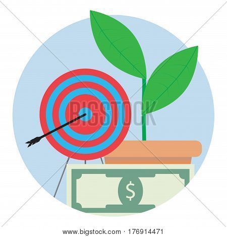 Financial target icon. Aim center strategy and focus to banknote bill vector illustration