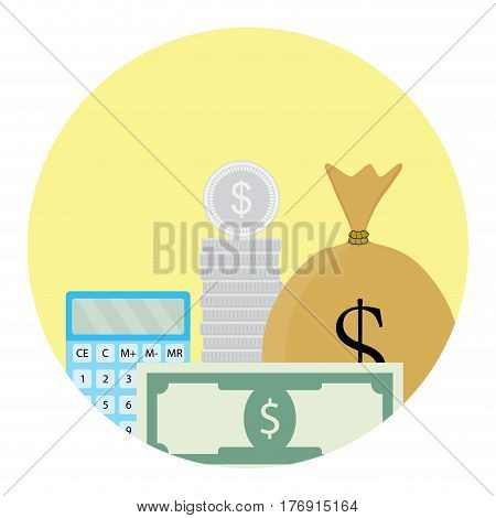 Calculate money icon. Process finance calculate analysis bill financial vector illustration