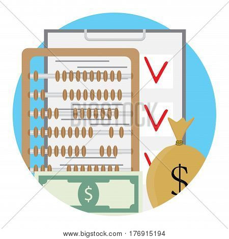Checklist and money. Dollar account and checking finance. Vector illustration