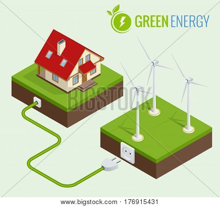 Alternative Green energy or Green House concept. Flat 3d web isometric infographic vector illustration. Composition of small house with ecological equipment - wind turbine.