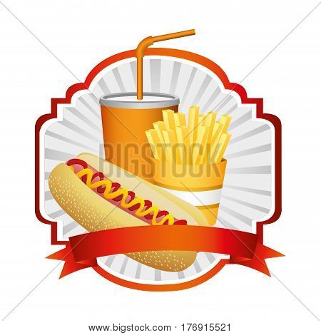 emblem with hot dog, fries french and soda with ribbon, vector illustration