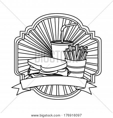silhouette french fries, sandwich and soda inside emblem ribbon, vector illustration