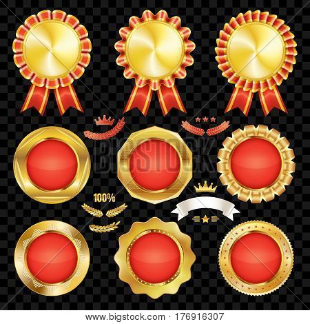 Set of excellent quality red empty badges with gold border.
