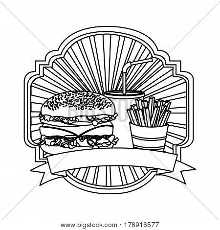 silhouette emblem with hamburger, soda and fries french and ribbon, vector illustration